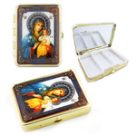 "PB1-3 Virgin Mary & Christ Icon Pill Box W Mirror NEW!! 2 1/2""x2"""