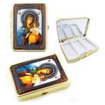 "PB1-3 Virgin Mary & Christ Icon Pill Box W Mirror NEW!! 2 1/2""x2"""