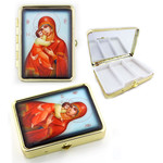 "PB1-4 Madonna & Child Icon Pill Box W Mirror NEW!! 2 1/2""x2"""