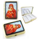 "PB1-4 Madonna & Child Icon Pill Box W Mirror NEW!! 2 1/2""x2"""