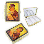 "PB1-5 Madonna & Child Icon Pill Box W Mirror NEW!! 2 1/2""x2"""