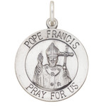 "S524  New Pope Francis Medal Sterling Silver Antiqued with English writing 1""  2.13 grams"