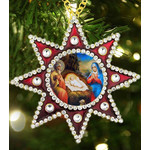 M-6R-68 Christmas Ornament Nativity of Christ Star of Bethlehem Faberge Style Framed Icon Pendant NEW!!!!
