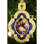 M-7B-67 Nativity of Christ Red Faberge Inspired Framed Icon Pendant Enameled Gift Boxed