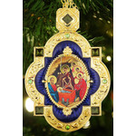 M-7B-69 Nativity of Christ Red Faberge Inspired Framed Icon Pendant Enameled Gift Boxed