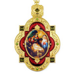 M-7R-67 Nativity of Christ Red Faberge Inspired Framed Icon Pendant Enameled Gift Boxed