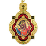 M-7R-69 Nativity of Christ Red Faberge Inspired Framed Icon Pendant Enameled Gift Boxed