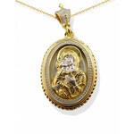 "8749-W Reversible ""Vermeil"" (Sterling Silver 925 with 18kt Gold plating) Icon Pendant Madonna & Child Back Side Holy Trinity Icon NEW !!"