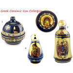 ANA-Blue-SET-3 Ceramic Greek Icon Collection  Holy Water Bottles Icon of Virgin Mary & Votive Lamp