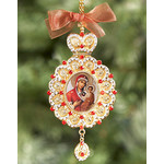M-10-66 Beautiful Icon Pendant W Crown Virgin of Smolensk & Christ W Chain & Gift Box