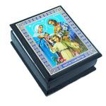 """IBX-3-HFHoly Family  Small Rosary Case Icon Keepsake Box 2 1/4""""x2"""""""