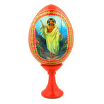 "IED-7R-6 Resurrection Of Christ Red Easter Icon Egg With Gold Stand 4 1/2""x2 1/2"""