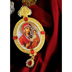 M-9-66 Jeweled Icon Pendant Virgin of Smolensk & Christ W Pearl Chain & Gift Box