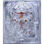 "MI-31 Crucifixion Resurrection Of Christ Icon Hand Painted Hand Crafted Silver / Plated Copper, Silver, & Enamel. Top quality, unique design. 15""x12 1/2"""