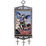 """TMT96 Archangel Michael Tapestry Icon Banner W Crosses NEW!!  Wall & Door Decoration 9 3/4""""x3 7/8"""""""