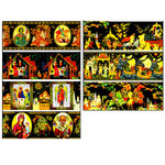"EW-17   Egg Wraps ""Palekh""  St Nicholas Guardian Angel Madonna & Child Trinity Icons & Fairy Tales 7 Pcs in Pack"