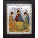"""TD431-43x46 Holy Trinity Icon Serigraph Icon Wood w/SS Riza &Decorated W Swarovsky Elements 17""""x14"""""""