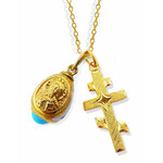 """GP540FL-165C   Sterling Silver 925 24KT Gold Plated Three Bar Cross W Sterling Silver 925 Egg Pendant Christ & Chain 18"""""""