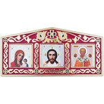 "IR-819R Red  Enameled Car Shrine Christ-Virgin of Kazan-St Nicholas 5 1/4""x2 1/2"" W Adhesive Back Which Allows to Use It Anywhere"