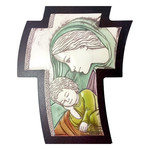 "AM1451L Virgin Mary Child Icon Wall & Desk Cross Comes With Hook To Hang & Stand to Display on Desk Shelf etc Wood Base Aluminum Hand-Colored 4 1/2""x3 1/2"""