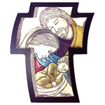 "AM1452L Holy Family Icon Wall & Desk Cross Comes With Hook To Hang & Stand to Display on Desk Shelf etc Wood Base Aluminum Hand-Coloured  4 1/2""x3 1/2"""
