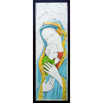 "AM190L Madonna & Child Wood Base Aluminum Hand-Colored Wall & Desk Icon Comes With Hook To Hang & Stand to Display on Desk Shelf etc LG 21""x7 1/2"""