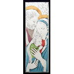 "AM191L Holy Family Wood Base Aluminum Hand-Colored Wall & Desk Icon Comes With Hook To Hang & Stand to Display on Desk Shelf etc LG 21""x7 1/2"""