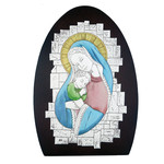 "AM242/2L Madonna & Child Wood Base Aluminum Hand-Coloured Wall & Desk Icon Comes With Hook To Hang & Stand to Display on Desk Shelf etc  6 3/4""x4 3/4"""