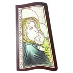 "AM751L Madonna & Child  Wood Base Aluminum Hand-Coloured Comes With Hook To Hang & Stand to Display on Desk Shelf etc 4 1/2""x2 1/2"""