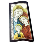 "AM752L Madonna & Child Wood Base Aluminum Hand-Colored Wall & Desk Icon Comes With Hook To Hang & Stand to Display on Desk Shelf etc  6 3/4""x4 3/4"""