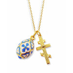 """GP540FL-175B   Sterling Silver 925 24KT Gold Plated Three Bar Cross W Sterling Silver 925 Egg Pendant & Chain 18"""""""