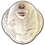 "IC113 First Communion Laminated Silver Icon W Stand Mounted on Wood 3""x3""  Made in Italy"