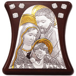 "IS3052 Holy Family Icon Jeweled Laminated Silver Icon Mounted on Wood W Stand NEW Made in Italy 3 1/2""x3 1/4"""