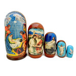 MD-N2  Matreyshka 5 Nested Nativity of Christ Jesus Icon Doll 7""