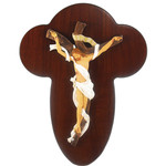 "SC370/2L Crucifixion Hand Decorated Resin & Wood Comes With Hook To Hang & Stand To Display on Desk Shelf etc Made in Italy NEW 10""x7 1/2"""