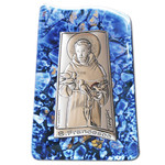 "VG22-717 St Francis Laminated Silver Icon Attachade on Murano Style Glass Like W its Stand 3""x2"""