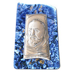 "VG22-712 St Padre Pio Laminated Silver Icon Attachade on Murano Style  Glass W its Stand 3""x2"""