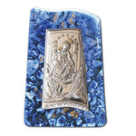 "VG22-760 OUR LADY OF MOUNT CARMEL Laminated Silver Icon attachade on Murano Style  Glass W its Stand 3""x2"""