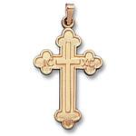 """644 14KT Gold Byzantine Style Cross 1 3/8""""x3/4"""""""