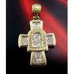 EC-67 Gold Plate Over 925 Sterling SilverCross Jesus Christ Icon Mother of God Saints
