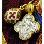 EC-6/175 Sterling Silver Gold Plated Cross and Sterling SIlver Enameled Gold Plated Egg Pendant NEW SET