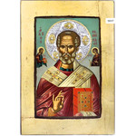"TST626T St Nicholas Serigraph Greek Icon with a Silver Nimbus and Crystals 16""x11"""