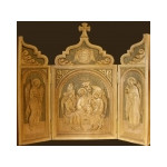 "HAND CARVED TRINITY WOOD SHRINE 22""X12 1/2"""