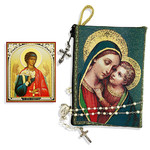 "TIP4  Madonna & Child Rosary Icon Pouch 5 3/8""x4"" NEW!!"