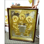 "HP2 HOLY TRINITY ICON HAND PAINTED GOLD PLATED OPEN UP WOODEN FRAME GLASS XLG 30"" x24"" PERFECT FOR CHURCH"