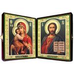 """SF-702 Matching Icon Set in Velvet Case Virgin of Vladimir and Christ The Teacher NEW!! 8 1/2""""x 14 1/2"""""""