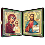 SF-D-2  Large  Diptych in Velvet Case Virgin of Kazan & Christ The Teacher NEW
