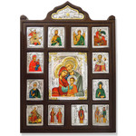 """TD483U Framed Holy Family With Crystals Serigraph Icon 17""""x14 1/2"""""""