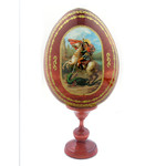 """IED-12-8 Saint George Wooden Icon Egg 4""""x3 1/4"""""""