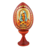 IED-4-1 Virgin of Kazan and Christ Wood Icon Egg w/Gold Stand